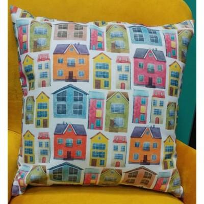 Decorative pillow case Colorful houses size 43/43