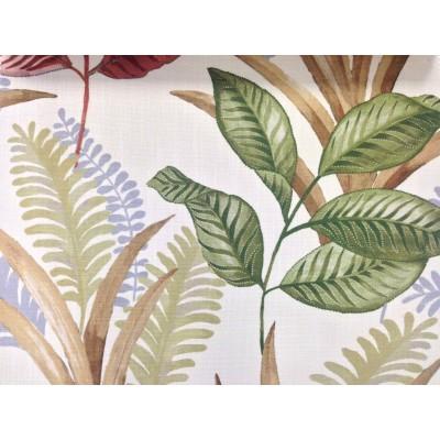 Плат за плътна завеса и дамаска с листа в зелено и кафяво
