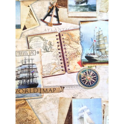 Плат за плътна завеса с морски мотиви Световна карта