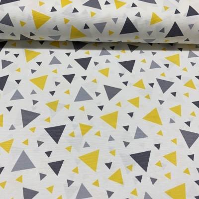 Дамаска с триъгълници в жълто и сиво