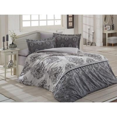 Единичен спален комплект ранфорс в сиво с орнаменти