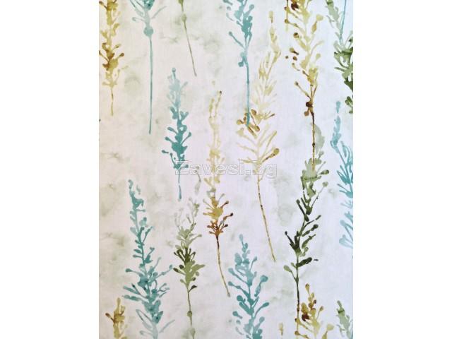 Плат за плътна завеса с абстрактни шарки в тюркоаз и зелено
