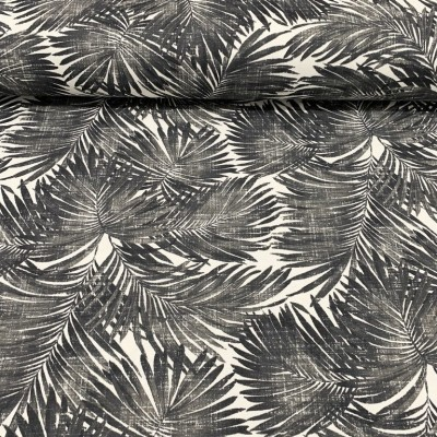 Curtain and upholstery with Tropical leaves in black