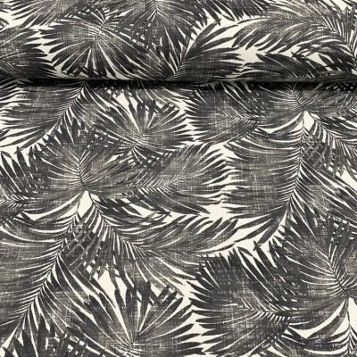 Плат за плътна завеса и дамаска с Тропически листа в черно