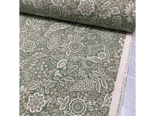 Плат за плътна завеса и дамаска с флорални мотиви на зелен фон