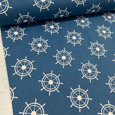 Дамаска с морски десен в тъмно синьо