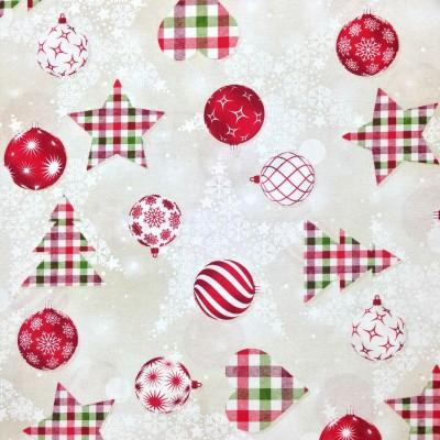 Коледен плат за покривки с елхи и играчки