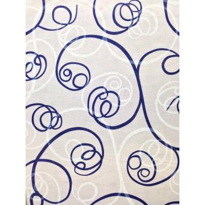 Плат за тънки пердета със спираловидни елементи в синьо