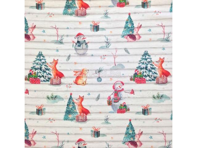 Коледен плат за плътни завеси и покривки с животни и елхи