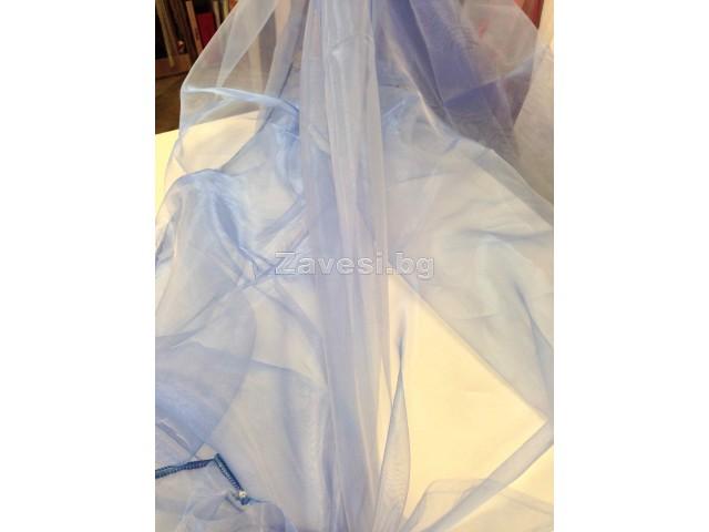 Плат за тънко перде тип органза в синьо