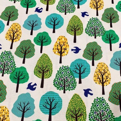 Curtain and upholstery Forest in yellow, blue and green