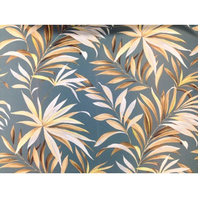 Dimout curtain with tropical leaves on dark blue background