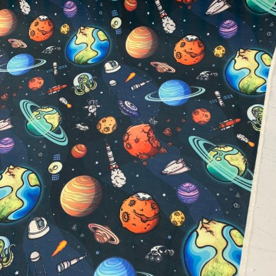 Curtain and upholstery with digital print Planets