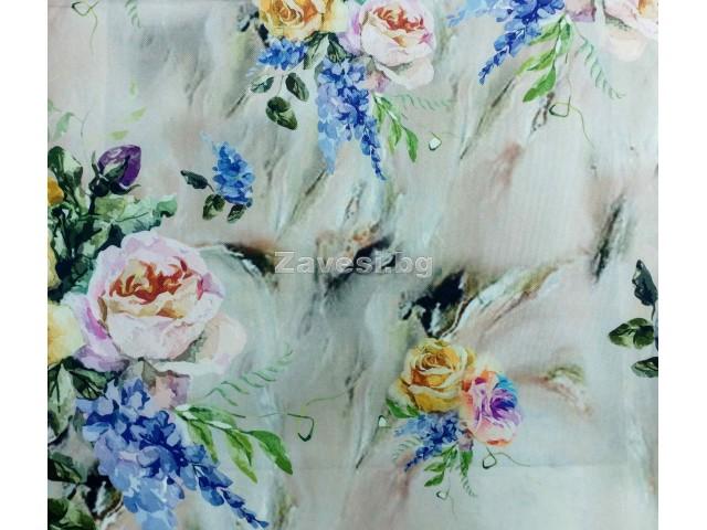 Плат за плътна завеса с цветя Veronika