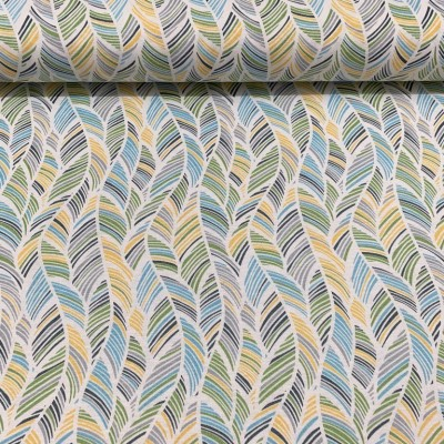 Curtain with Leafs in yellow and blue