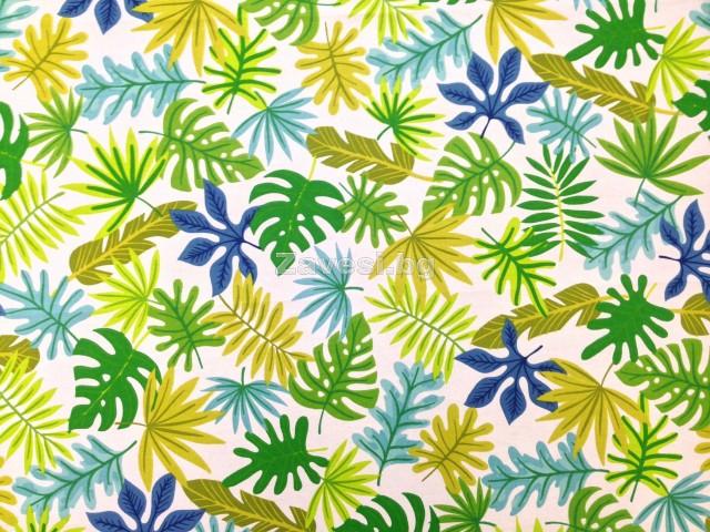 Плат за плътна завеса с тропически десен в зелено и синьо