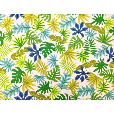 Curtain with tropical design in green and blue