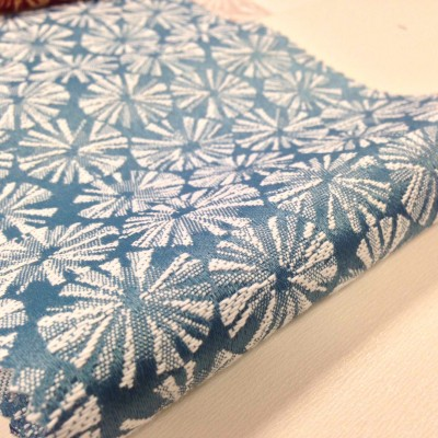 Jacquard curtain and upholstery in light blue with white circles