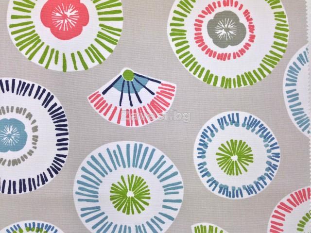 Плат за плътна завеса с абстрактни кръгове в зелено, розово и мента