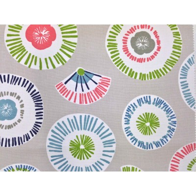 Curtain with abstract circles in green, pink and mint