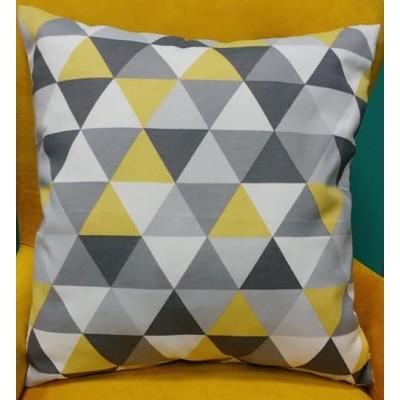 Калъфка за декоративна възглавничка в жълто и сиво с размер 43/43